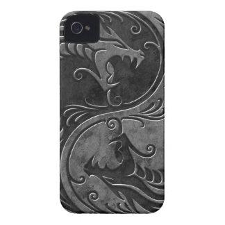 Dragones de piedra de Yin Yang iPhone 4 Cárcasas