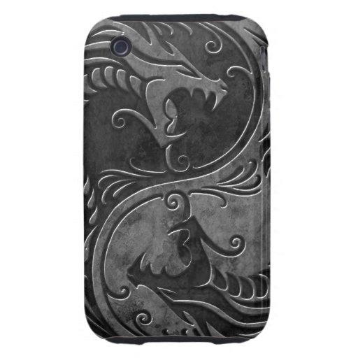 Dragones de piedra de Yin Yang iPhone 3 Tough Cobertura