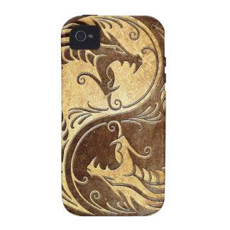 Dragones de piedra de Yin Yang Vibe iPhone 4 Carcasas