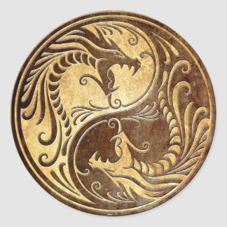 Dragones de piedra de Yin Yang Pegatina Redonda