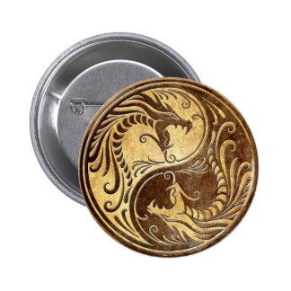Dragones de piedra de Yin Yang Pin Redondo De 2 Pulgadas