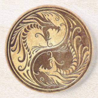 Dragones de piedra de Yin Yang Posavasos Para Bebidas