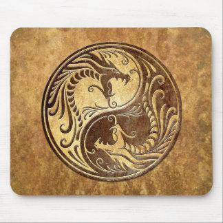Dragones de piedra de Yin Yang Alfombrilla De Raton