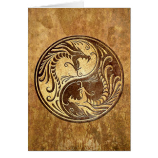 Dragones de piedra de Yin Yang Tarjeta