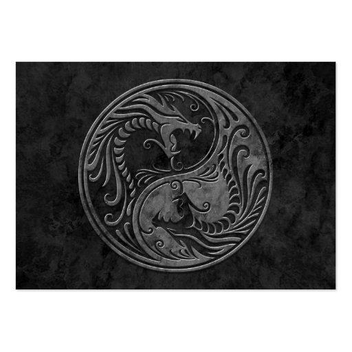 Dragones de piedra oscuros de Yin Yang Tarjetas De Visita Grandes