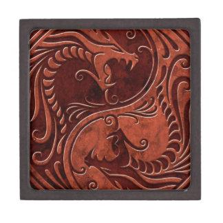 Dragones de piedra rojos de Yin Yang Cajas De Joyas De Calidad