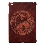Dragones de piedra rojos de Yin Yang iPad Mini Carcasa