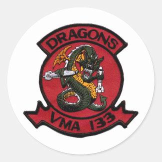 Dragones de VMA 133 Pegatina Redonda