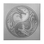 Dragones de Yin Yang, acero inoxidable Azulejos