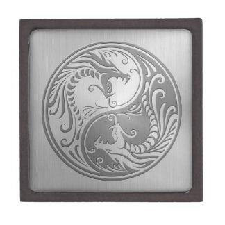 Dragones de Yin Yang, acero inoxidable Caja De Joyas De Calidad