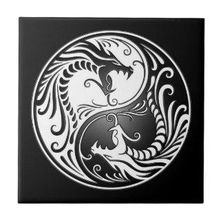 Dragones de Yin Yang Azulejo Cuadrado Pequeño