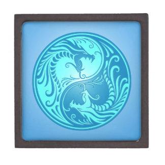 Dragones de Yin Yang, azules claros Caja De Joyas De Calidad