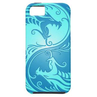 Dragones de Yin Yang, azules claros iPhone 5 Case-Mate Coberturas