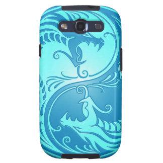 Dragones de Yin Yang, azules claros Galaxy S3 Coberturas