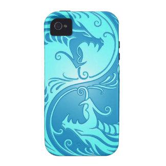 Dragones de Yin Yang, azules claros Case-Mate iPhone 4 Carcasas