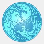 Dragones de Yin Yang, azules claros Etiqueta Redonda