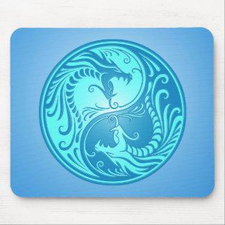 Dragones de Yin Yang, azules claros Alfombrillas De Ratones
