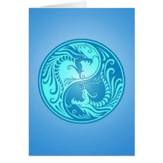 Dragones de Yin Yang, azules claros Felicitacion