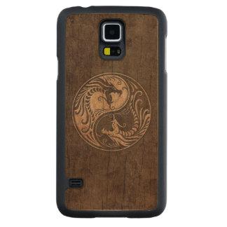 Dragones de Yin Yang con el efecto de madera del Funda De Galaxy S5 Slim Arce