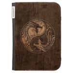 Dragones de Yin Yang con el efecto de madera del g