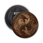 Dragones de Yin Yang con el efecto de madera del g Abrebotellas Redondo