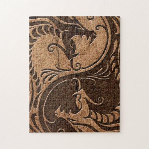 Dragones de Yin Yang con el efecto de madera del g Puzzle
