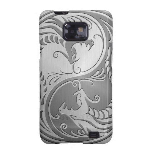 Dragones de Yin Yang del acero inoxidable Galaxy SII Funda