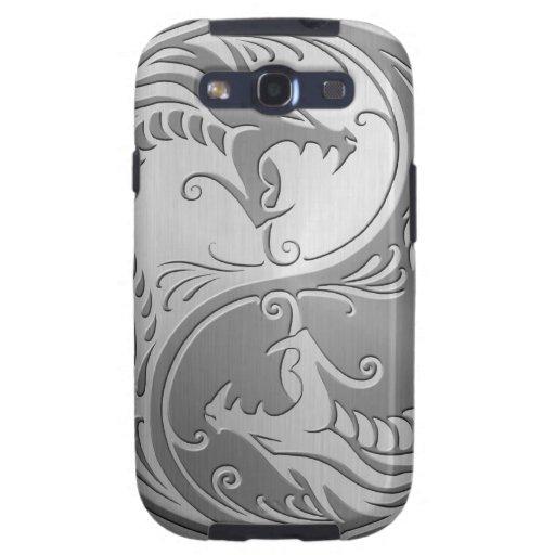 Dragones de Yin Yang del acero inoxidable Galaxy S3 Carcasas