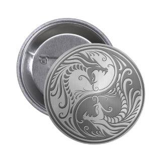 Dragones de Yin Yang del acero inoxidable Pin Redondo De 2 Pulgadas