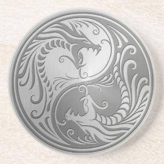 Dragones de Yin Yang del acero inoxidable Posavaso Para Bebida
