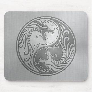 Dragones de Yin Yang del acero inoxidable Alfombrillas De Ratón