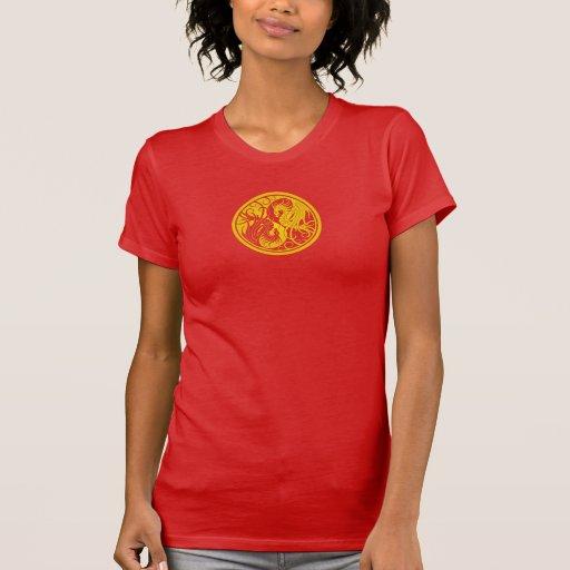 Dragones de Yin Yang del vuelo - amarillo Camisetas