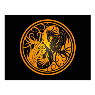 Dragones de Yin Yang del vuelo - amarillo y negro Postales