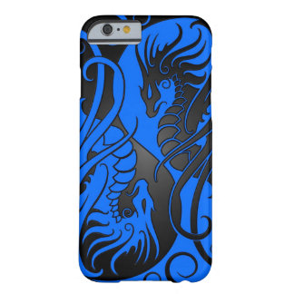 Dragones de Yin Yang del vuelo - azul y negro Funda De iPhone 6 Barely There