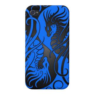 Dragones de Yin Yang del vuelo - azul y negro iPhone 4 Funda
