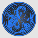 Dragones de Yin Yang del vuelo - azul y negro Etiquetas Redondas
