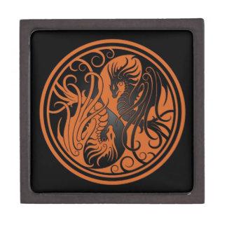 Dragones de Yin Yang del vuelo - marrón y negro Caja De Joyas De Calidad