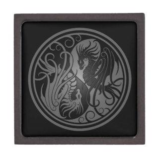 Dragones de Yin Yang del vuelo - oscuridad Caja De Regalo De Calidad