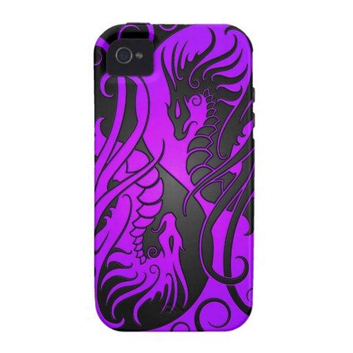 Dragones de Yin Yang del vuelo - púrpura y negro iPhone 4 Carcasas