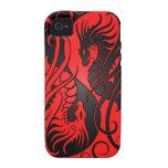 Dragones de Yin Yang del vuelo - rojo y negro Vibe iPhone 4 Carcasa