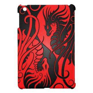 Dragones de Yin Yang del vuelo - rojo y negro iPad Mini Carcasas