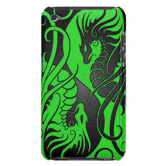 Dragones de Yin Yang del vuelo - verde y negro iPod Touch Case-Mate Funda