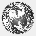 Dragones de Yin Yang Pegatina Redonda