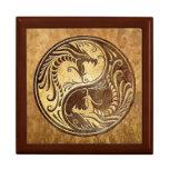 Dragones de Yin Yang, piedra Caja De Joyas
