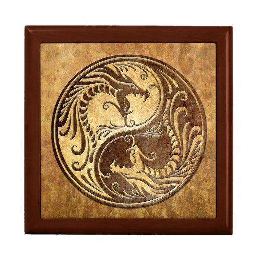Dragones de Yin Yang, piedra Joyero Cuadrado Grande