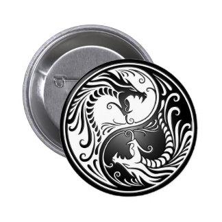 Dragones de Yin Yang Pin Redondo De 2 Pulgadas