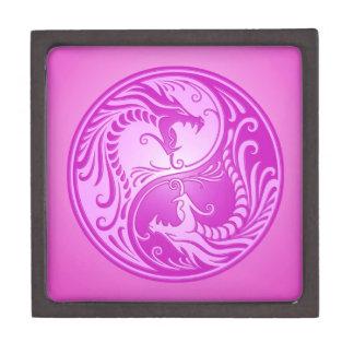 Dragones de Yin Yang, purpúreos claros Cajas De Recuerdo De Calidad