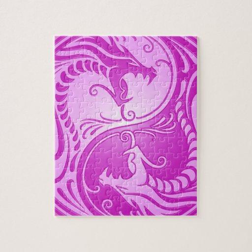 Dragones de Yin Yang, purpúreos claros Puzzle