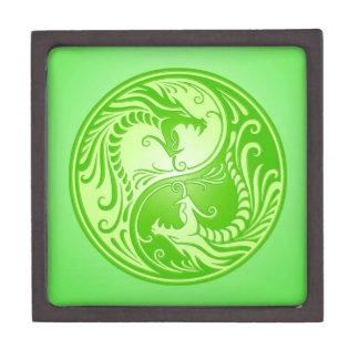 Dragones de Yin Yang, verdes claros Caja De Regalo De Calidad