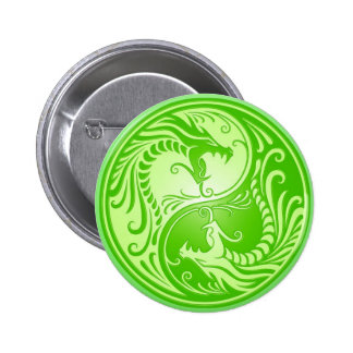Dragones de Yin Yang, verdes claros Pin Redondo De 2 Pulgadas